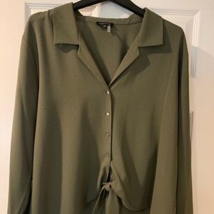 1STATE Army green front tie , loose fitting shirt